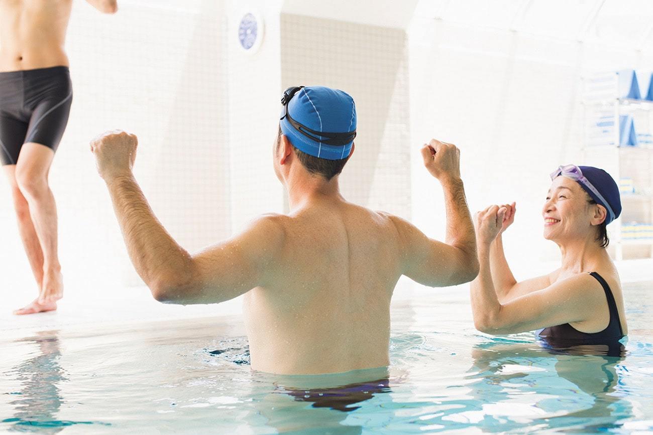 水中運動(アクアビクス)で楽しく健康づくり+天然温泉入館料