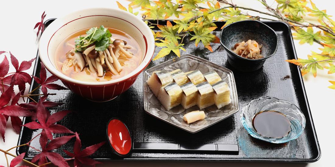 季節限定メニュー「秋刀魚寿司ときのこにゅうめん」