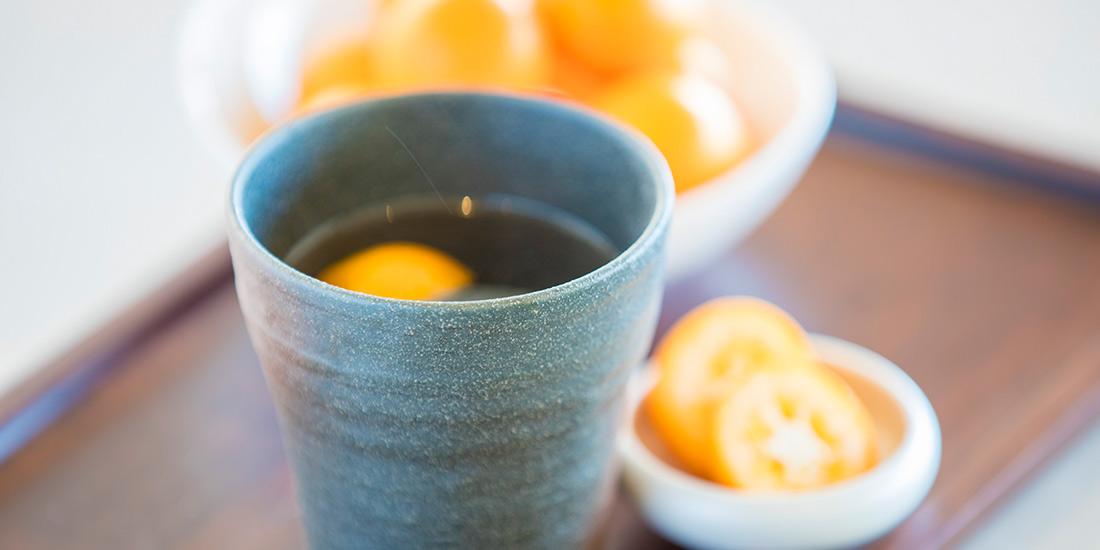 季節の果物を使ったカクテル「ホット金柑」