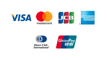 VISA・ MasterCard・JCB・AmericanExpress・Diners Club・銀聯