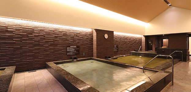 屋内大浴場内、高濃度炭酸泉と暦風呂