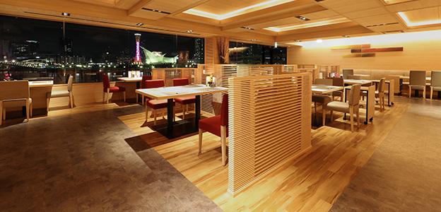 御食事処 ライブ割烹 万蓮、神戸港の夜景が見える客席