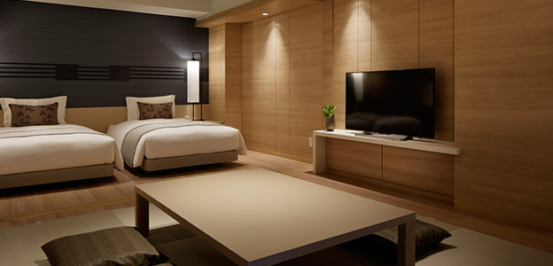 木の優しい雰囲気が感じられる和モダンな客室