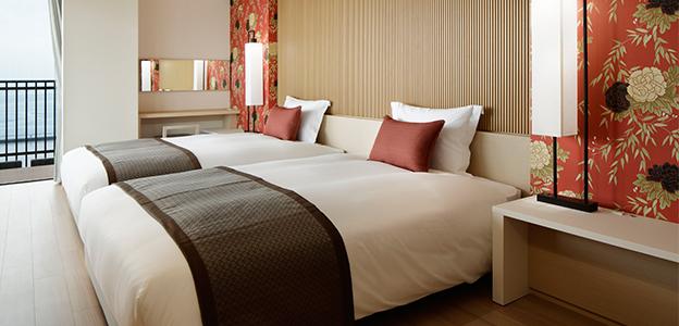 和と洋が融合した客室ベッドスペース