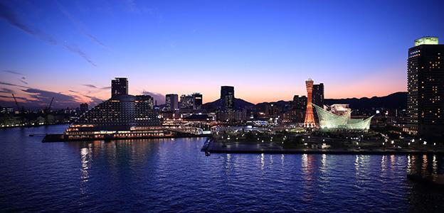 ハーバーランドの夕焼け風景