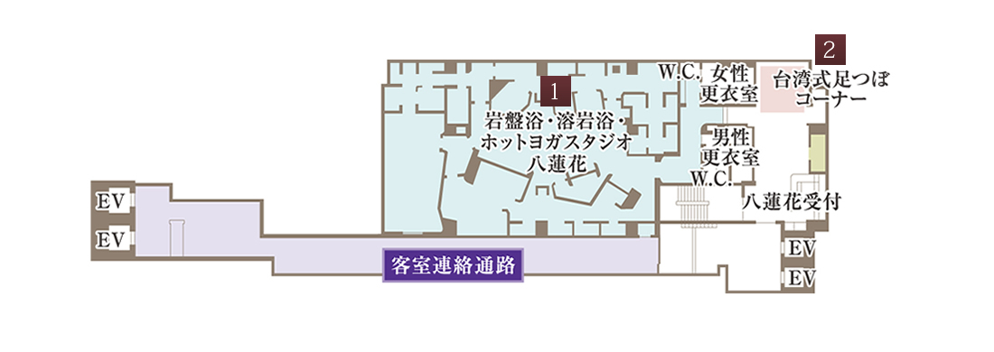 三階 岩盤浴・溶岩浴・ホットヨガスタジオ「八蓮花」の見取り図
