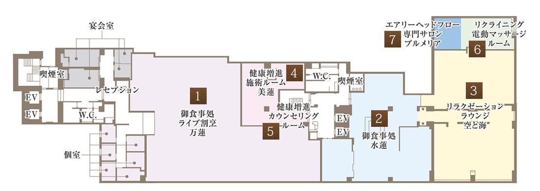三階 御食事処の見取り図