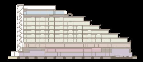 神戸みなと温泉 蓮の館内断面図