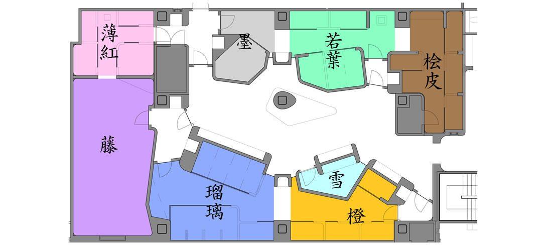 岩盤浴・溶岩浴・ホットヨガスタジオ八蓮花全体マップ