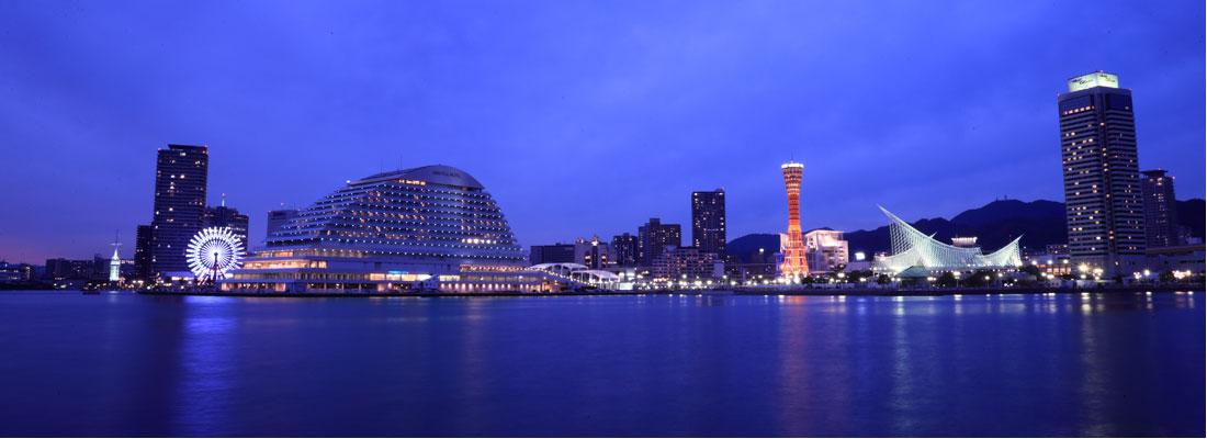 神戸みなと温泉 蓮から眺める神戸の夜景写真