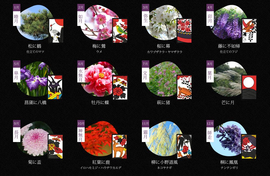 花札で見る四季の花暦のイメージ画像
